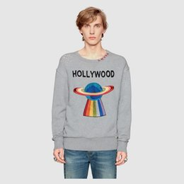 Wholesale Ufo Shirt - UFO embroidery UFO letter embroidery love letter couple sweater long sleeves black and white gray t-shirt