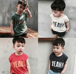 Wholesale Vest Sleeveless T Shirt Boy - 2017 Summer INS Baby Girls Boys Cotton Knitted Sleeveless Vest Waistcoat T-Shirt Letter Printed Tank Tops Tee Kids Children Clothing 654