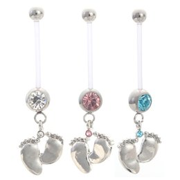 Wholesale Pregnancy Belly Rings - CZ Pregnant Maternity Navel Belly Ring Piercing Body Jewelry Baby Feet Button Rings For pregnancy Women