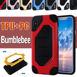 Wholesale Slim Armor Frame - Bumblebee Hybrid Plastic Frame + TPU Cover Rubber Armor Case Double Layer Drop Protection Shockproof Slim Cover For iPhone X 8 7 Plus 6 6S