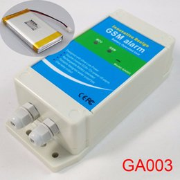 Wholesale Gsm Battery - Wholesale- Rechargeable battery powered DC power supply off alarm GSM alarm box ,Double alarm input Home industrial security protection