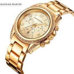 Wholesale Michael Watch Women - London Style Famous Brand Women michael Gene Rhinestones Wristwatches Rose Gold Luxury Quartz-watch Fashion Bracelet Watches Free Shipping