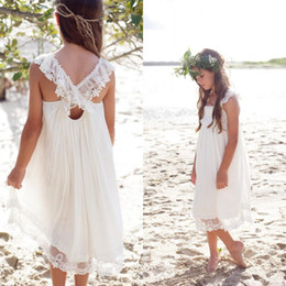 Wholesale Chiffon Tea Length Casual Dresses - New 2017 Ivory Chiffon Tea Length Boho Beach Country Flower Girl Dresses For Weddings Cheap Square Lace Girls Casual Dress Custom EN7271