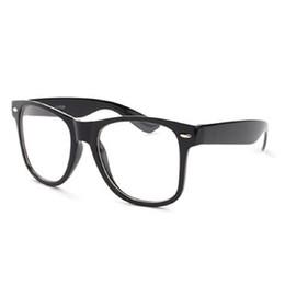 Wholesale geek glasses wholesale - Wholesale- 2016 top sale Clear Lens Fashion Vintage Unisex Nerd Trendy Geek Sun Glasses