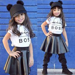 Wholesale Girls Leather Mini Skirts - 2017 Ins Kids Girl Outfits Baby Mini Boss Letter T-shirt+PU Leather Skirt 2pcs Cotton Outfit Baby Summer Ins Outfits