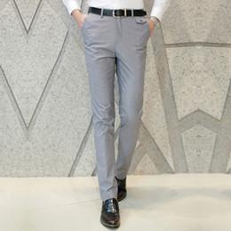 Wholesale Men Boys Slim Fit Suits - Wholesale- 2017 Men Trousers Boy Slim Fit Pants Business Formal Clothes Casual Slack Suits Pants Grey Blue 426