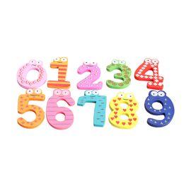 Wholesale Magnetic Figures - Wholesale- 10PCS Cute Wooden Numbers Fridge Magnetic Sticker Children Educational Animal Figure Math Toys