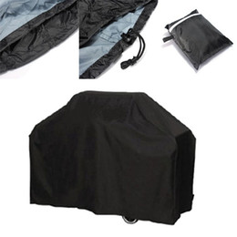 Wholesale Garden Bbq Grill - Outdoor BBQ Cover Black Polyester Fiber Garden Patio Grill Protector Adjustable Rain Proof Covers Fexible For Camp 37tj B R
