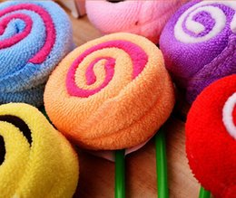 Wholesale Disposable Microfiber Face Towels - Disposable Lollipop microfiber cake towels Candy towels Novelty wedding gift Lovely lollipop towel with golden bowknot