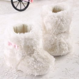 Wholesale Pre Walker White Shoes - Wholesale- White Infant Toddler Shoes Indoor Boots Princess Baby Girls New Sweet Winter Newborn Baby Booties Bow Keep Warm Pre walker