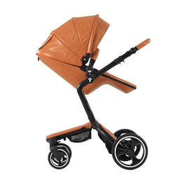 Wholesale Two Way Stroller - Wholesale- 4 Colors European Luxury four seasons using Genuine leather Baby Stroller High View Prams Folding two-way stroller