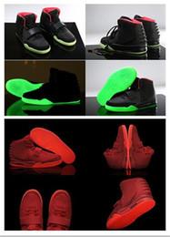Wholesale Glow Lanterns - Wholesale Kanye West Air 2 ii Black Red October Green Cheap Lantern Glow In Dark cheap Women Men Basketball Sport Footwear Sneaker