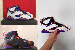 Wholesale Mens Fall Fashion Sweaters - 2017 Air Retro 7 VII mens Basketball Shoes Bright Concord Sweater retro 7s shoes high quality sports shoes fashion womens sneakers eur 36-47