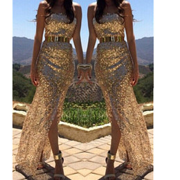 Wholesale Cocktail Long Dress For Bridesmaid - women gold sequined dress Long Sexy Lady Evening cocktail Party Ball Prom Gown Formal Bridesmaid Dresses clothing for lady