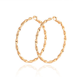 Wholesale Twisted Gold Plated Hoop Earrings - Super Hotsale Fashion Earrings 18K Yellow Gold White Gold Plated Fashion Twist Hoops Earrings for Women for Party Wedding ER-951