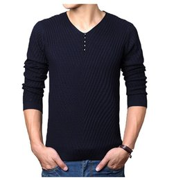 Wholesale Cashmere Jerseys Hombre - Wholesale-M-4XL spring Henley Neck Sweater Men Cashmere Pullover Christmas Sweater Mens Knitted Sweaters Pull Homme Jersey Hombre 2016