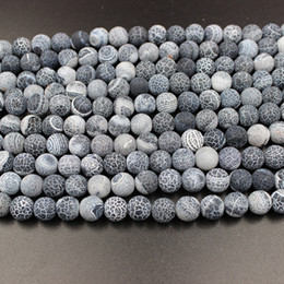 Wholesale Sports Bead Necklace - Natural Weathering Black Agate Stone Beads 8mm Round Loose Beads For DIY Bracelet Necklace Jewelry Making Agate Bead