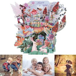 Wholesale Birthday Greetings Diy - Wholesale-1pc Flower Fairy DIY 3D Pop Up Greeting Card Laser Cut Origami Paper Craft Art Birthday Greeting Card Postcards