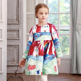 Wholesale Children Christmas Jumper Cotton - Brand New 2017 Children Dress Long Sleeve Full Paint Graffiti Fashion Girls Dresses Jumpers Top Qyuality Kids Blouses Wholesale