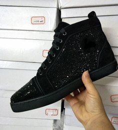 Wholesale Crystal B - 2017 Size:36-46 black suede &crystal red bottom high top Fashion Sneakers For Man and Women,Unisex Luxury Brand Winter Casual Shoes