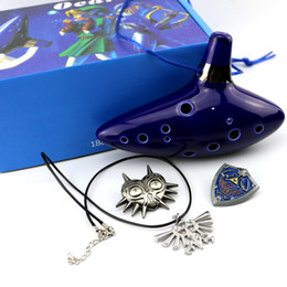 Wholesale Flute Holes - Legend of Zelda Blue Ceramic Clay Zelda Ocarina Flute of Time 12 Holes Alto C Flute Orcarina Musical Instrument