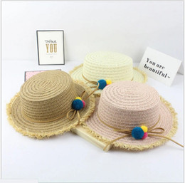 Wholesale Wholesale Small Straw Hat - 2017 New Hot Sale Girls Straw Beach Sun Hats Kids Small Ball Decoration Spring Summer Sun Protective Caps 5pcs lot