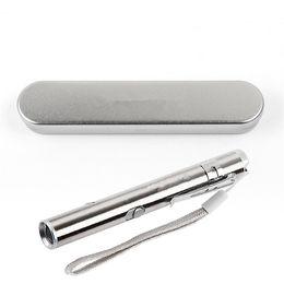 metal ponteiro laser caneta Desconto 50 conjuntos de Bolso Recarregável USB de Aço Inoxidável Mini Lanterna LED Tocha Laser Pointer Moon Light Caneta Lanterna com caixa de metal
