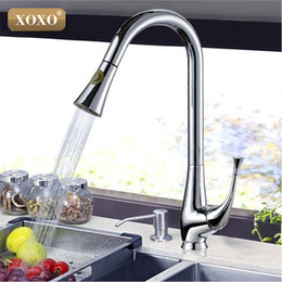 Wholesale Thermostatic Kitchen Mixer - Wholesale- XOXO Free Shipping New design pull out faucet chrome swivel kitchen sink Mixer tap kitchen faucet vanity faucet 83019