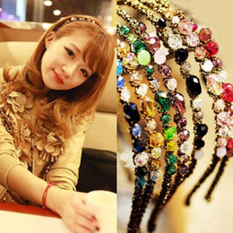 Wholesale Colorful Hair Bands - Free Shipping Women Crystal hair band hair clip loop Colorful Noble crystal Headband Hairpin jewelry Fashion Hair Accessories