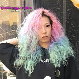 Wholesale Sexy Pink Wigs - Hot Sexy Long Kinky Curly African Curly Wave Hair Wigs Pink Blue Ombre Color Pastel rainbow Hair Heat Resistant front lace Wigs