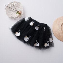 Wholesale Silk Tutu Ballet - New Swan embroider Princess Girls Skirts Ball Gown Ballet Tutu Toddler Skirts Children Skirt Tutu Skirt Tulle Girl Dress Kids Clothing A974