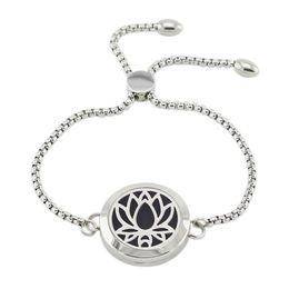 2019 lotus edelstahl armband 316L Edelstahl Diffusor Medaillon Armband einstellbar 25mm magnetische Lotus Form Parfüm Medaillon Armband mit Kette günstig lotus edelstahl armband