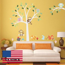 Wholesale Tree Life Wall Decal - CAH008- Wallstickers DIY Kids Wall Sticker Tree Vinyl Bird Wall Stickers Decal Removable for Wall Home Decor US STOCK