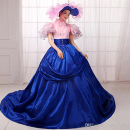 Wholesale New Southern Belle Costumes - New Arrival Blue And Pink Southern Belle Civil War Dresses 18th Century Medieval Dresses Rococo Renassiance Costume Party Gowns
