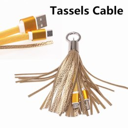 Wholesale Fashion Tassels Charging Data Cable Portable Key Ring Micro USB Short Bag Decoration Chain Sync Quick Charge Cords Line For Samsung HTC