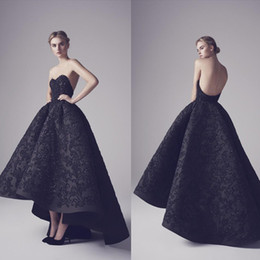 Wholesale Unique Modern - 2017 Spring Fashion Black Evening Dresses Sexy Strapless Backless Appliques Sequins Elegant Black Swan Unique Party Prom Gowns