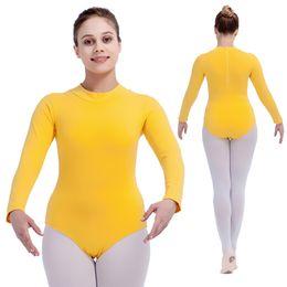 Wholesale Blue Turtle Kids - Ballet Dance Leotards Cotton Lycra Long Sleeve Turtle-Neck Zipper Back Girls Dancewear Kids Bodysuit Full Sizes 16 Colors Available