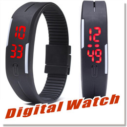 Wholesale White Rubber Wristband - LED Digital Wrist Watch Ultra Thin Outdoor Sports rectangle Waterproof Gym Running touch screen Wristbands Rubber belt silicone bracelets