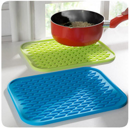 Wholesale Wholesale Square Dishes - Silicone Dish Drying Mat 29.5*23.5cm Durable Rectangle Heat Resistant Square Cup Pot Bowl Plate Table Mats OOA2623