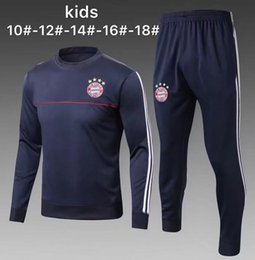 Wholesale Long Sleeves Football Jersey - Kids 17 18 tracksuit kit training suit child LEWANDOWSKI JAMES Soccer jersey 2017 2018 NEUER VIDAL MULLER ROBBEN RIBERY Football long sleeve
