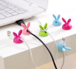 Wholesale Clip Ear Wires - Rabbit ear Desk Wire Cable Organizer Cover USB Charger Cord Holder Earphone Cable Winder Pen Holder Clip Cable Protector