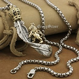 Wholesale Crown Feathers Necklace - LINSION 925 Sterling Silver Huge Feather Brass Crown Lion Mens Biker Pendant 8A042 Stainless Steel Necklace 24inches
