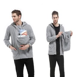 Wholesale Cotton Baby Carrier - Men's Autumn Baby Carrier Hoodie Zip Up Maternity Kangaroo Hooded Sweatshirt Pullover 2 In 1 Baby Carriers 2114023
