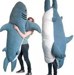 Wholesale Beanbag Giant - 2017 High quality Cartoon Animal Shark Beanbag Giant Plush Soft Sharks Toy Sleeping Bag Tatami Sofa Mat 2 Sizes