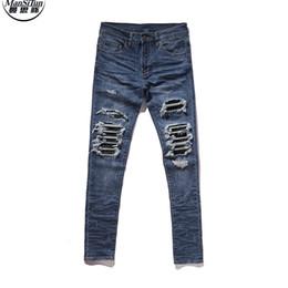 Wholesale Button Fly Men S Jeans - Wholesale- Man Si Tun Bieber similar style Amiri MX skinny distressed biker jeans bieber men streetwear slim fit destroyed denim pans