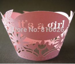 """Wholesale Baby Girls Cup Cake - Wholesale- (12pcs lot) Free shipping pink """"its a girl"""" laser cut Lace cupcake wrapper cup cake wrap for baby shower cake decoration"""