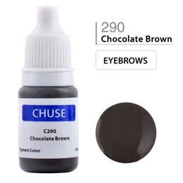 Wholesale professional permanent makeup eyebrow inks - CHUSE Permanent Makeup Ink Professional Eyeliner Tattoo Ink Set Eyebrow Microblading Pigment 10ML Chocolate Brown C290 Dermatest