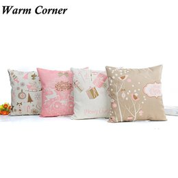 Wholesale Hospital Quality - Wholesale- 2017 2016 High Quality 1PC 4 Types Flax Light Color Christmas Pillow Case Shell Waist Cover Home New Free Shipping Oct 17