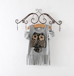 Wholesale Dress Owl Girl - Sequins Owl Kids girls long T shirt Short sleeve children tassel skirst kids dress for girl top clothes clothing Summer Spring girl's dress