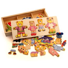 Wholesale Wooden Bear Dress - Wooden Bear Change Clothes Classic Bear Family Dress Jigsaw Puzzle Children Educational Wooden Toy Creative Wooden Toys